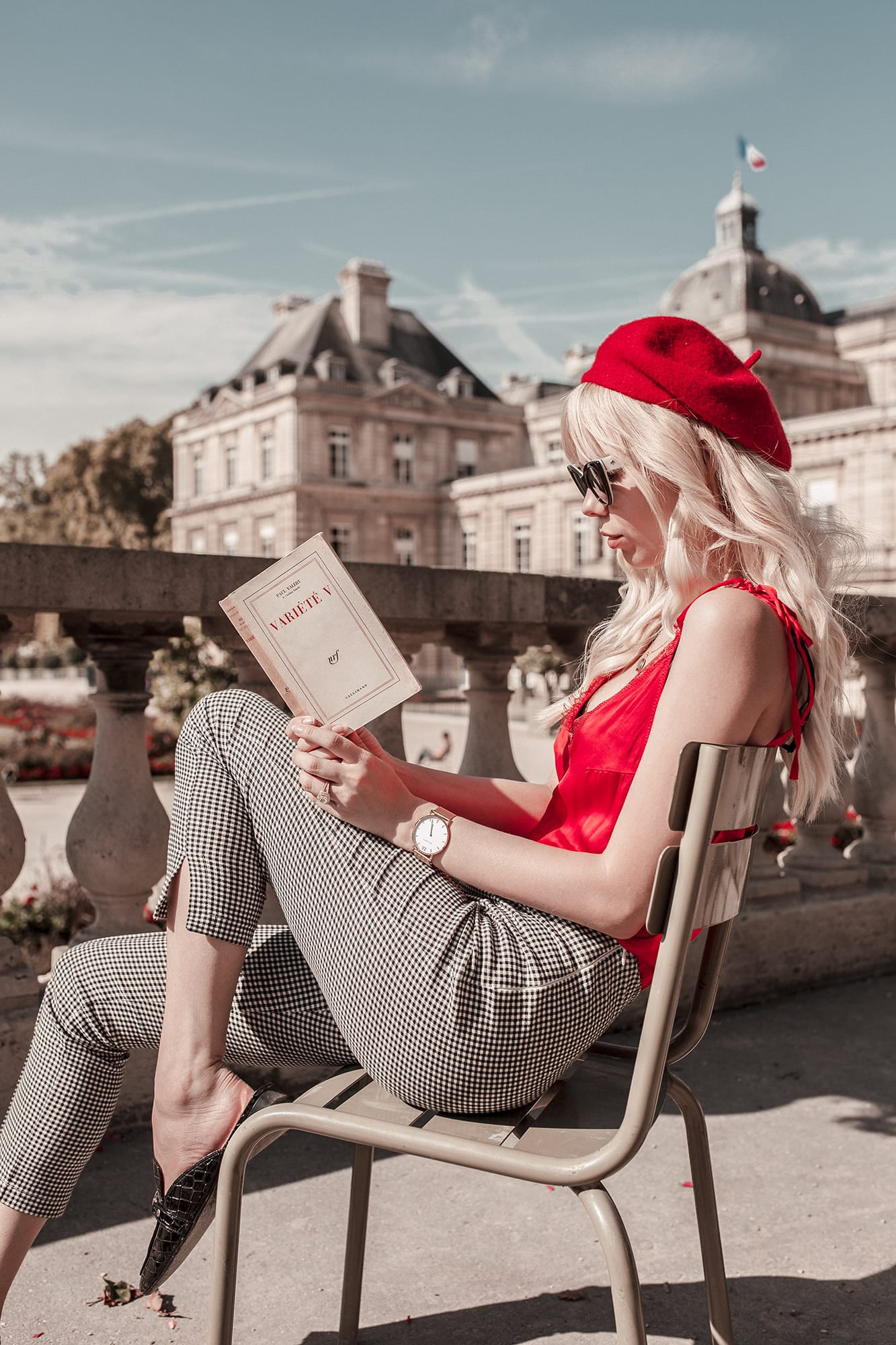 Sarah Loven - Paris - Luxembourg Gardens - Red Beret - French Style